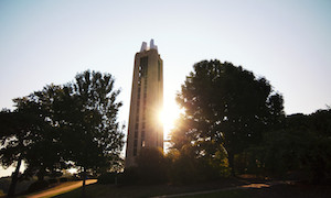 Campanile with sun behind