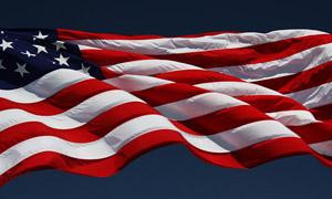 American flag waving on flagpole