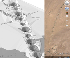 3D representation of a karez in southern Afghanistan, by M. Naglak (left); a karez as viewed in Google Earth (right).