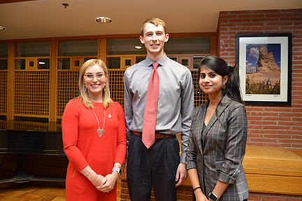 From left, Bailey Banach, Kyle Apley and Shivani Jagannathan Murali, all graduate students at the University of Kansas, were recognized for their creative presentation skills at the 2019 3MT competition.