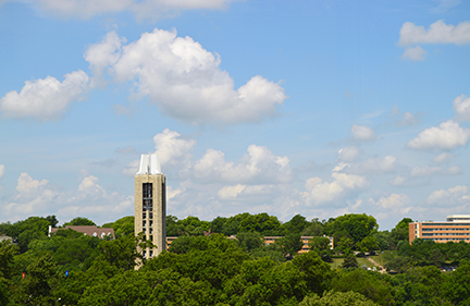 The campanile is a defining characteristic of the KU skyline.