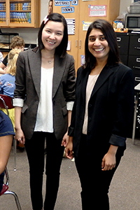 KU graduate students Vi Thanh Leitenberger (left) and Mahekta Gujar, both in Molecular Biosciences, were Kansas DNA Day presenters April 22 at Free State High School in Lawrence.