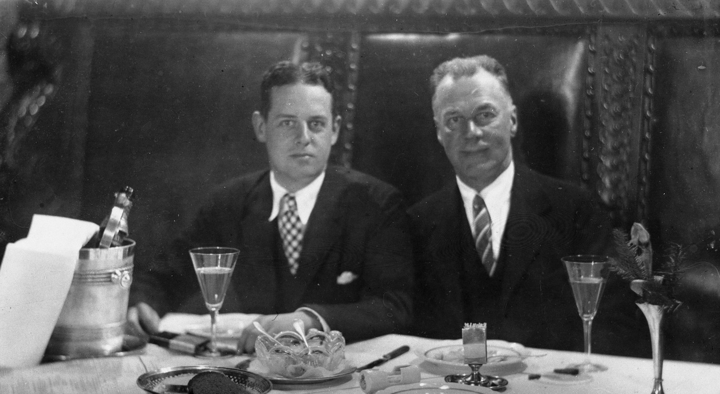 The Allertons at dinner. Black and white photo courtesy of the University of Illinois Archives.